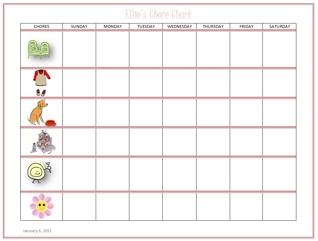 Free Online Kids Chore Chart - Teach Kids About Work And Money!