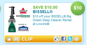 We offer carpet cleaning coupons frequently on our deep cleaning machine, and carpet cleaning formulas. Getting a deeper clean for your home doesn't have to be expensive when you use cleaning coupons from BISSELL Rental. Click below to print your BISSELL Rental coupon and then find your nearest rental location to get cleaning today.