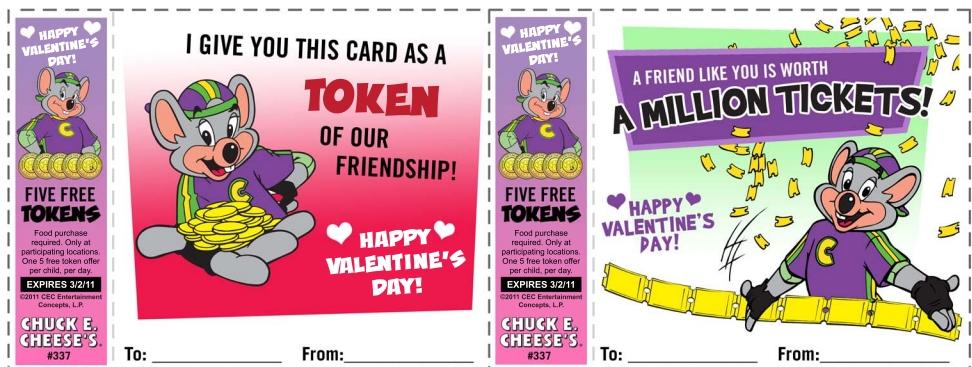 Chuck e cheese coupons 2018 tokens