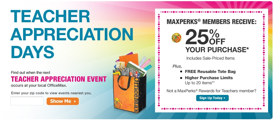 Office Max teacher appreciation days are back. Day and time depends on ...