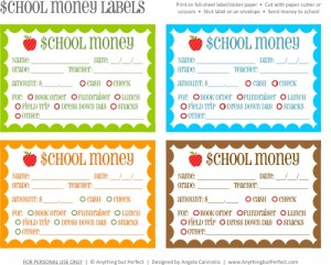 Back to School | Free Printable Lunch Money Slip