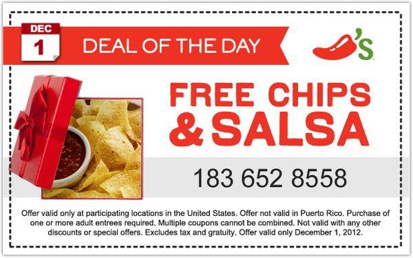 free chips n salsa at chilis menu