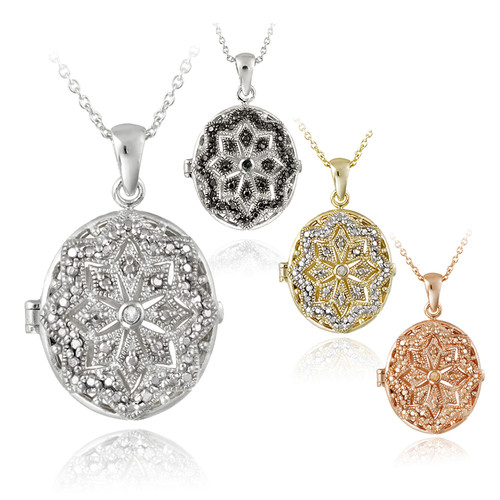 Diamond accent oval locket pendant 1299 shipped from 4999 aloadofball Images