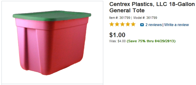 Plastic 18 Gallon Bin for $1 - FREE Shipping to Store