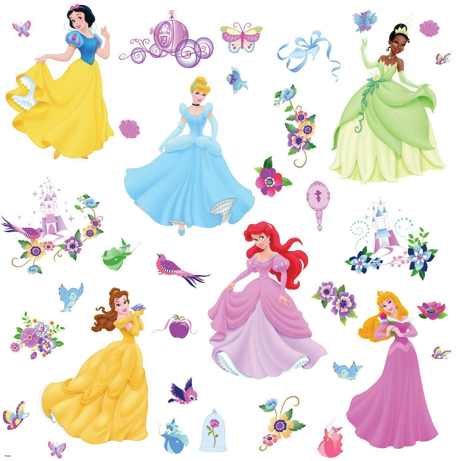 Disney princess peel stick wall stickers and gems for Disney princess wall mural stickers