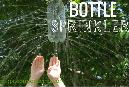 Outdoor sprinkler made with a bottle