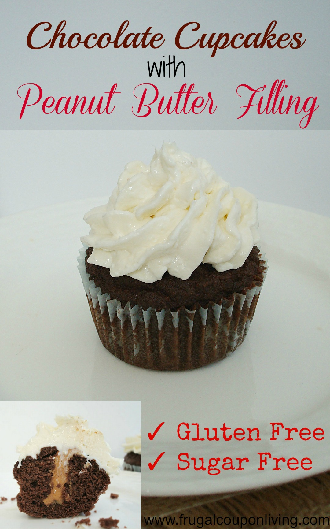 Chocolate Cupcakes with Peanut Butter Filling Recipe - Gluten Free ...