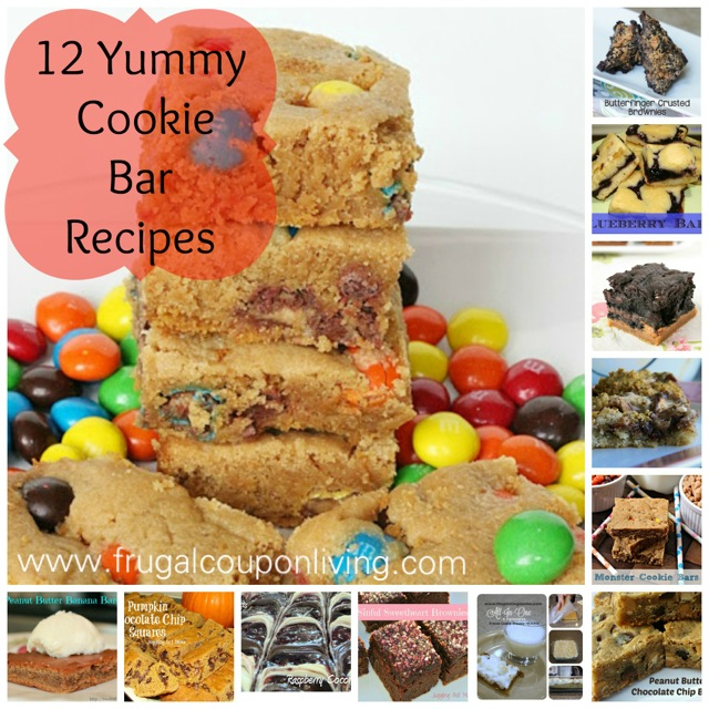 Round up of 12 yummy cookie bar recipes and desserts for Bar food yummy
