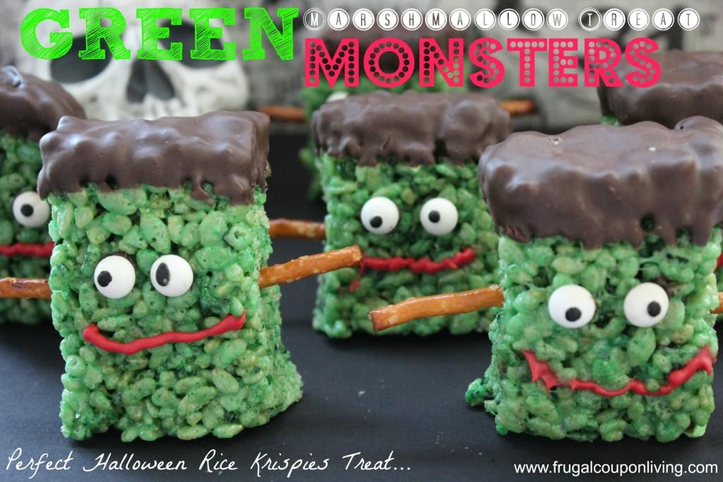 Green Marshmallow Treat Monsters Halloween Frankenstein