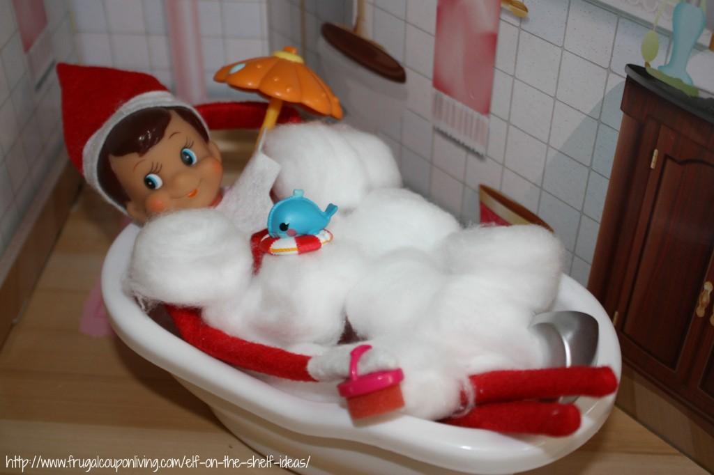 Elf on The Shelf Ideas – Rub-A-Dub-Dub There's an Elf in Our Tub