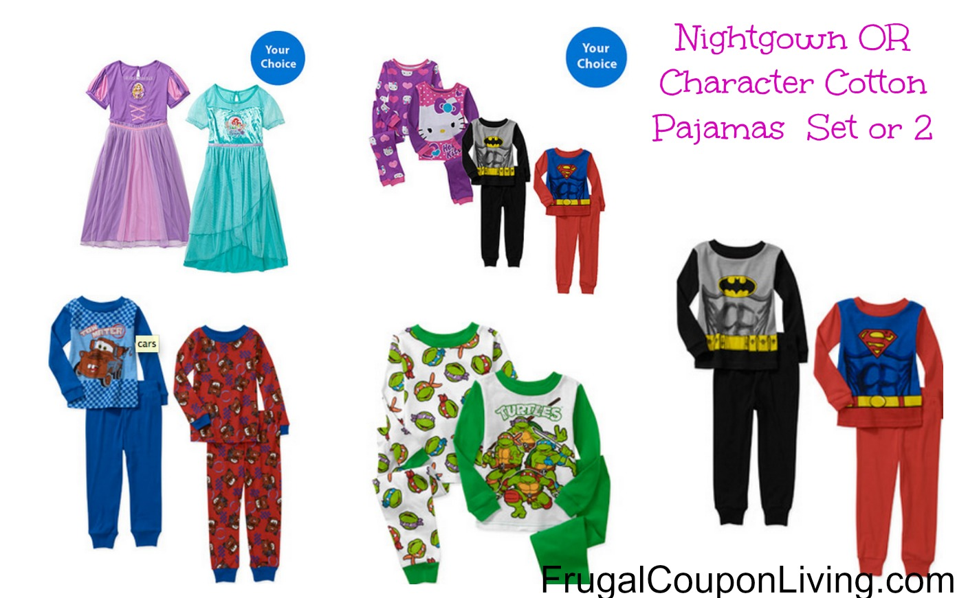 Walmart Character Cotton Pajamas, 2 Sets Or Dress Up Nightgowns ...