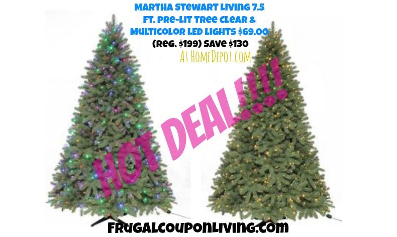 Martha Stewart Living 7.5 Ft. Pre-lit Pine Christmas Tree