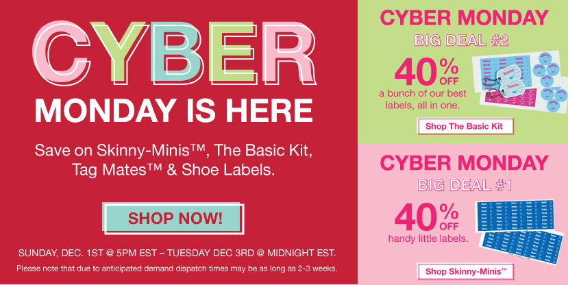 cyber monday mabel's labels 40% off deal + free shipping