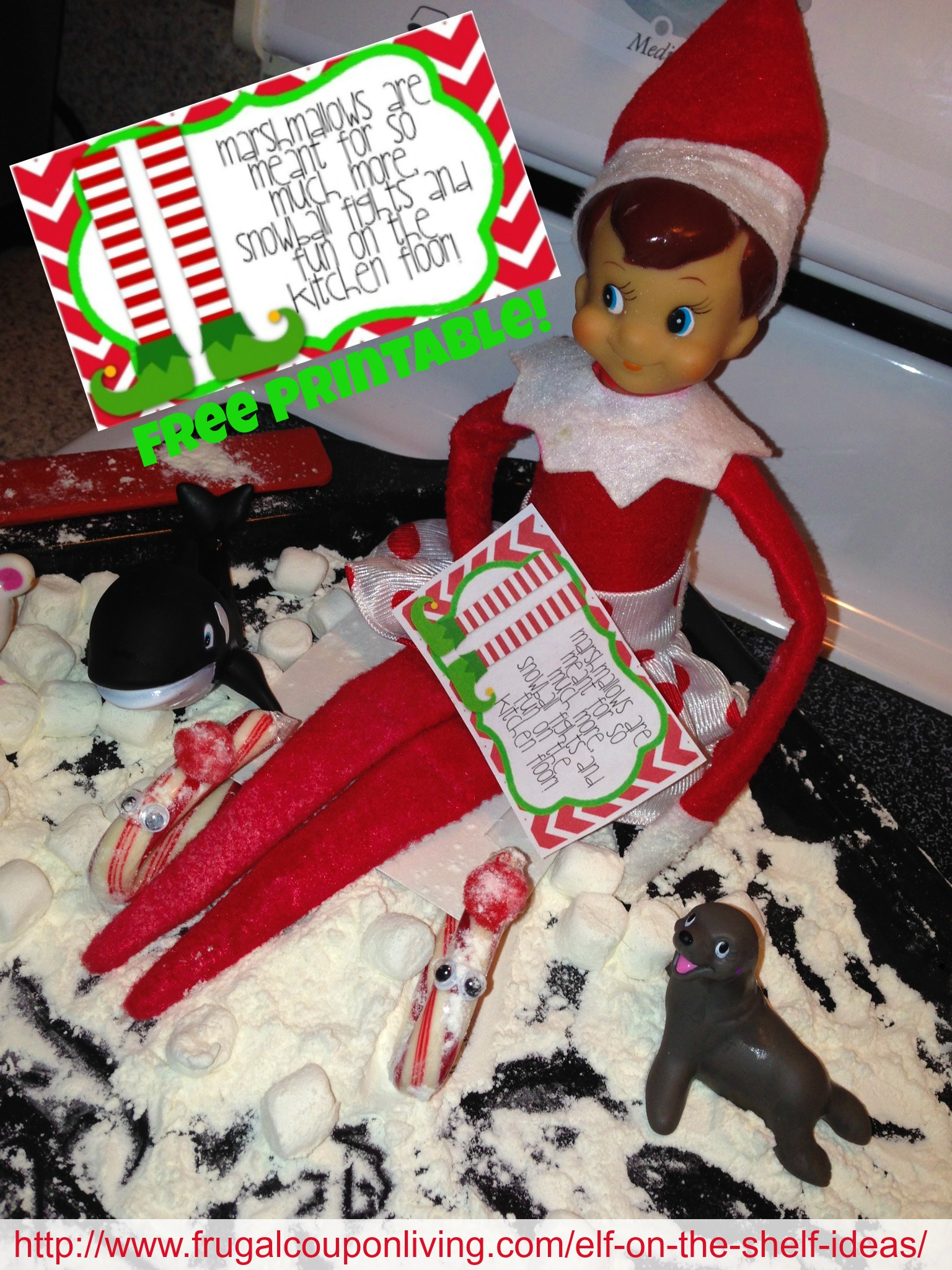 Elf On The Shelf Ideas Elf Plays In The Snow