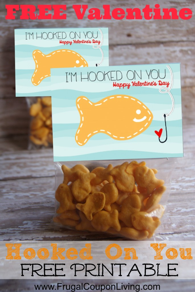 Hooked On You Valentine Printable with Goldfish