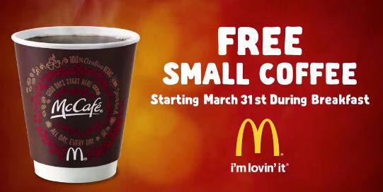 FREE Small Coffee at McDonald's - No Purchase Necessary