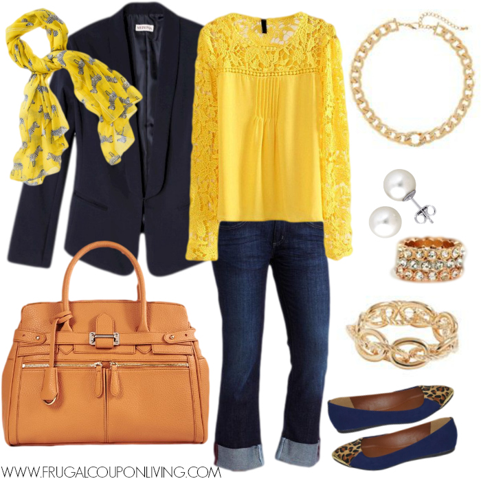 Frugal Fashion Friday Navy And Gold Outfit Polyvore Concept