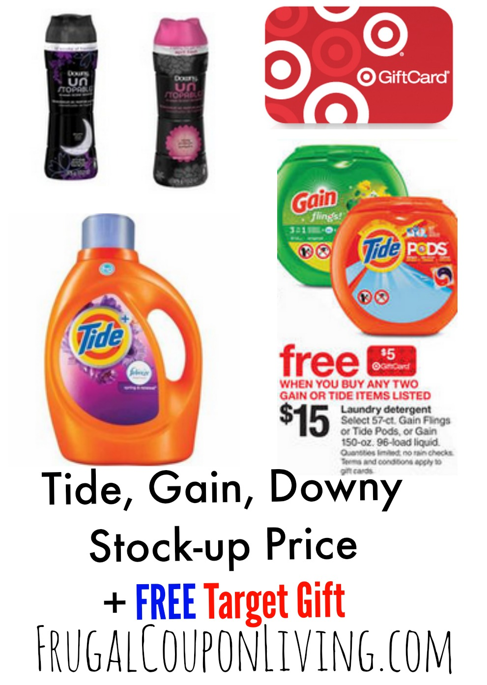 photo relating to Gain Printable Coupons called Aim Laundry Detergent Bargains + Tide Downy Printable