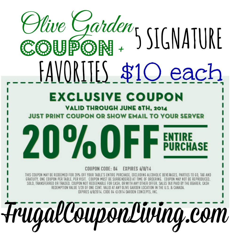 Olive Garden Coupon 20 Off The Entire Table 10 Favorites