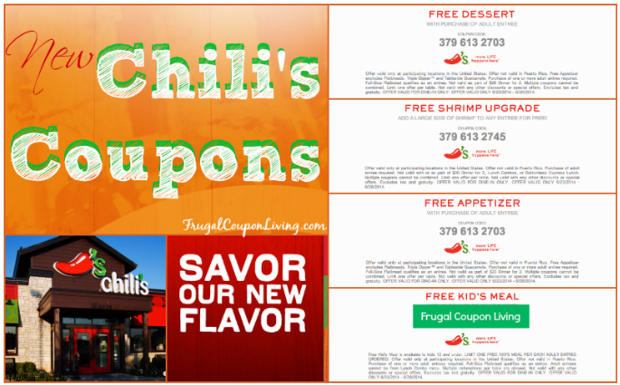 graphic relating to Chilis Coupons Printable known as Chilis Coupon codes for No cost Small children Supper, Appetizer, Dessert
