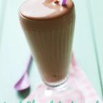 closeup of classic chocolate milkshake