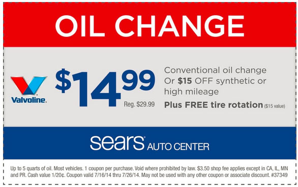 Sears coupons for oil change cover up to five quarts of the correct oil for your vehicle and a basic filter. Premium filters have an additional cost, and the oil change will %(12).