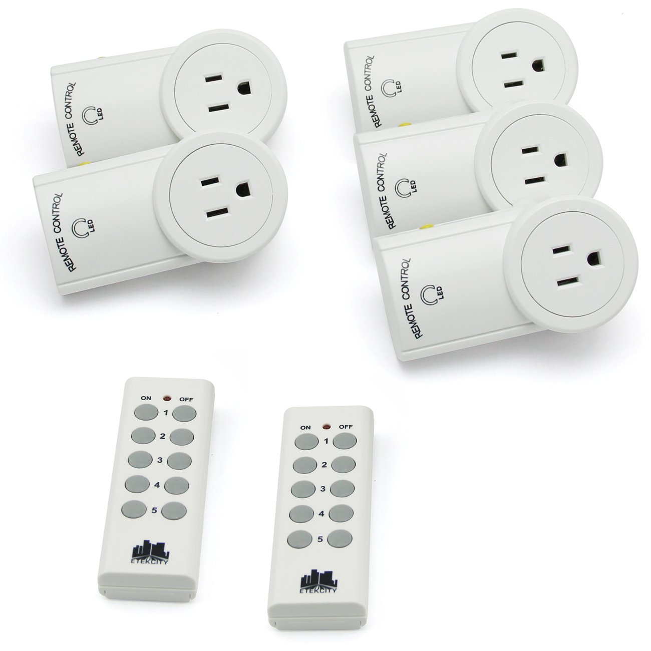 Etekcity® 5 Pack Auto-programmable Function Wireless Remote Control Outlet Light Switch