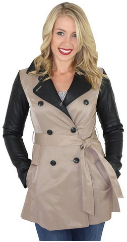 Jessica Simpson Faux Leather Sleeve Trench Coat