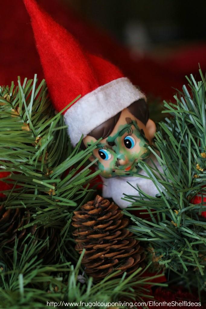 Elf On The Shelf Ideas Elf Is Camo In The Christmas Tree