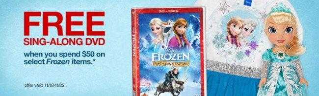 FREE Disney Frozen Sing-Along DVD WYB $50 in Frozen Items