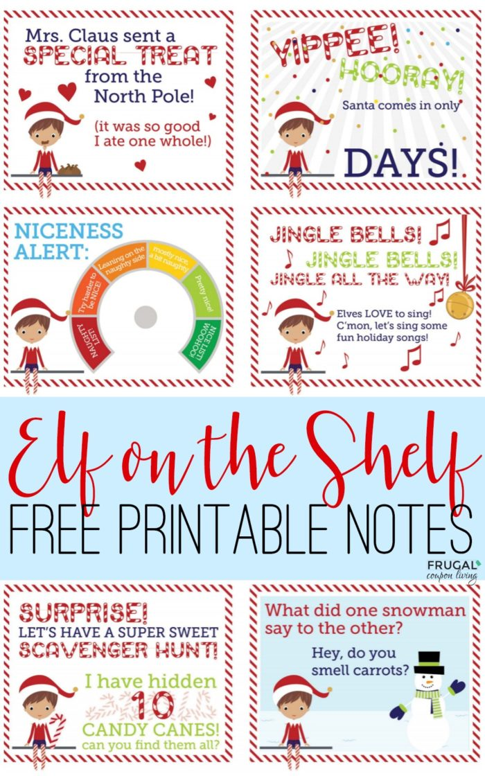 FREE Elf on the Shelf Notes. Print these cute elf notes for ideas each evening. New ideas daily on Frugal Coupon Living. #ElfontheShelf