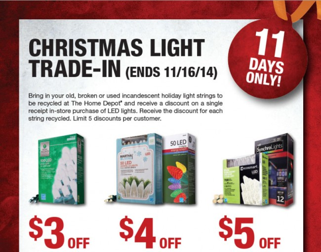 Home Depot Christmas Lights Trade-In 2014