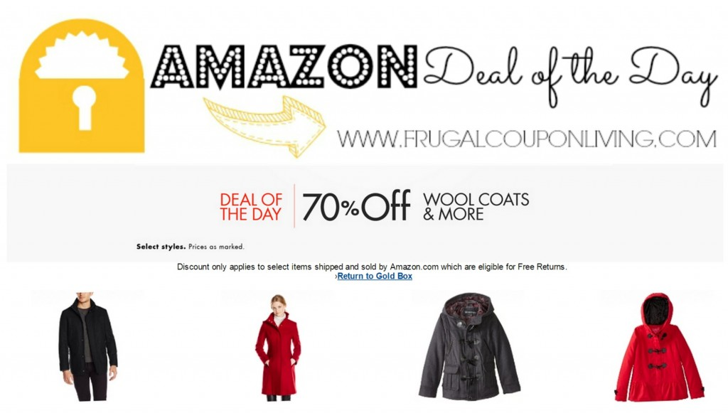 Today the Newest Amazon Deal of the Day is 70% off Wool Coats and More! Save on coats for the entire family   Men, Women, and Kids