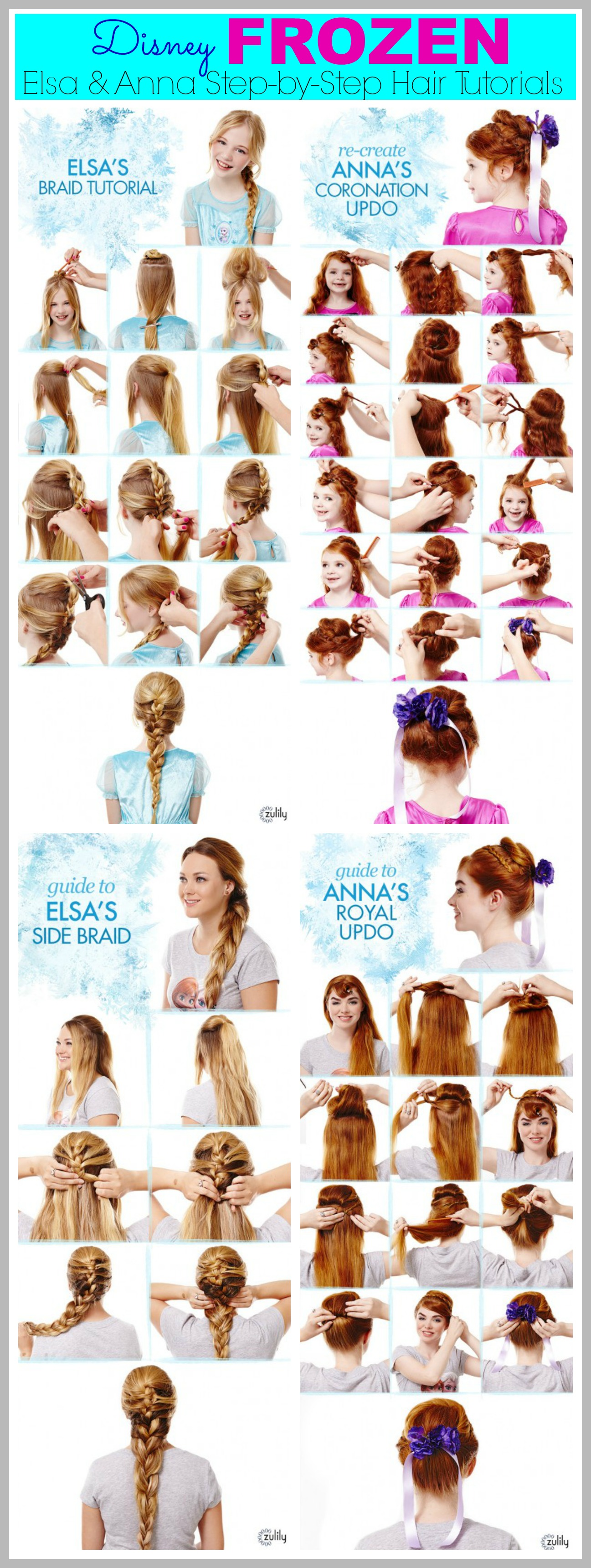frozen hair tutorials   elsa and anna hacks