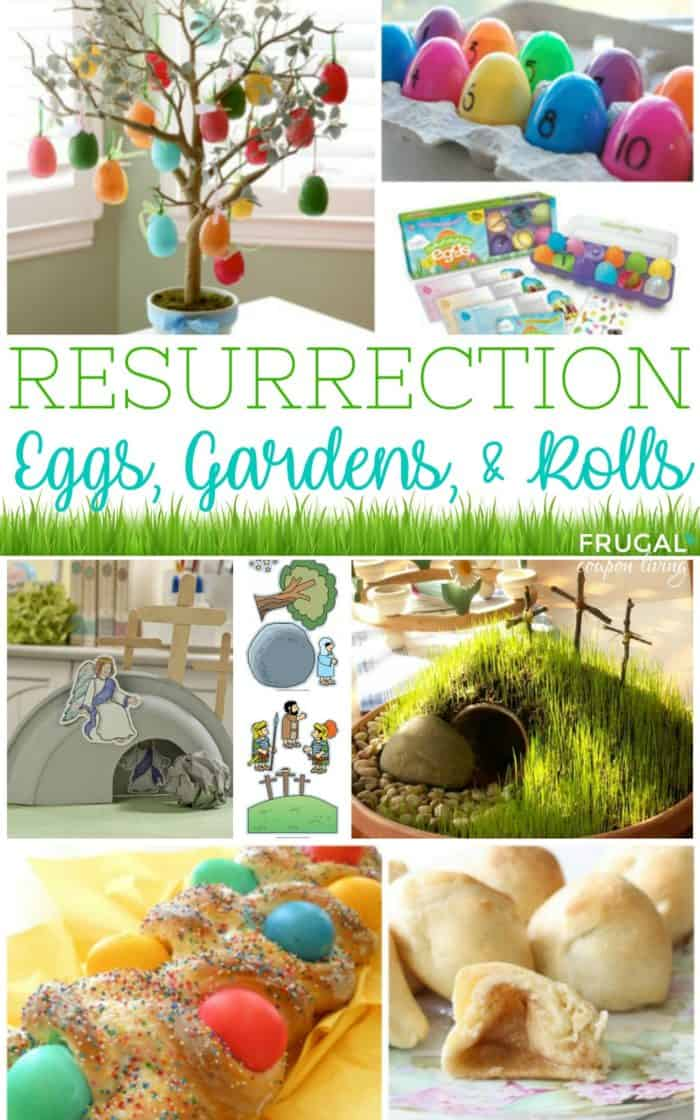 Easter Resurrection Eggs, Gardens and Rolls - spring christian crafts for Sunday School, homeschooling curriculum or home crafts for kids. #easter #resurrection #eggs #bread #rolls #gardens #eastercrafts #FrugalCouponLiving #sundayschool