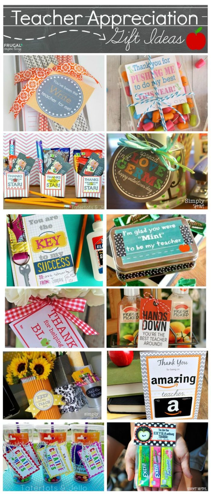 Teacher appreciation gift ideas with free printables. Ideas for each season of the school year. #TeacherAppreciationWeek #FreePrintables #FrugalCouponLiving #printables #teacherprintables #teachergiftideas #teachergiftguide #freeteacherprintables #printablesforteachers #giftguide