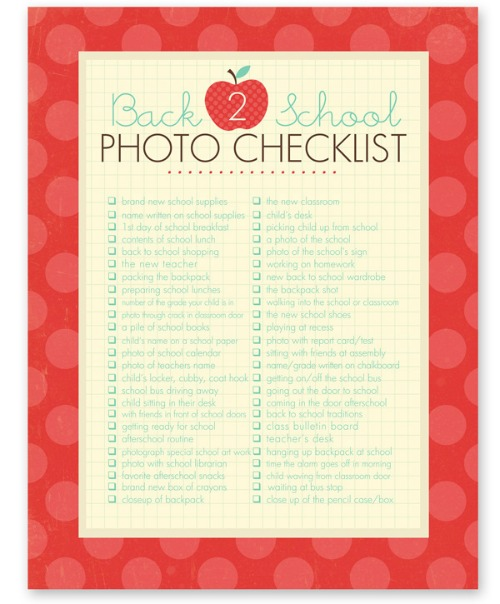 FREE Back to School Photo Checklist from Simple as That Blog