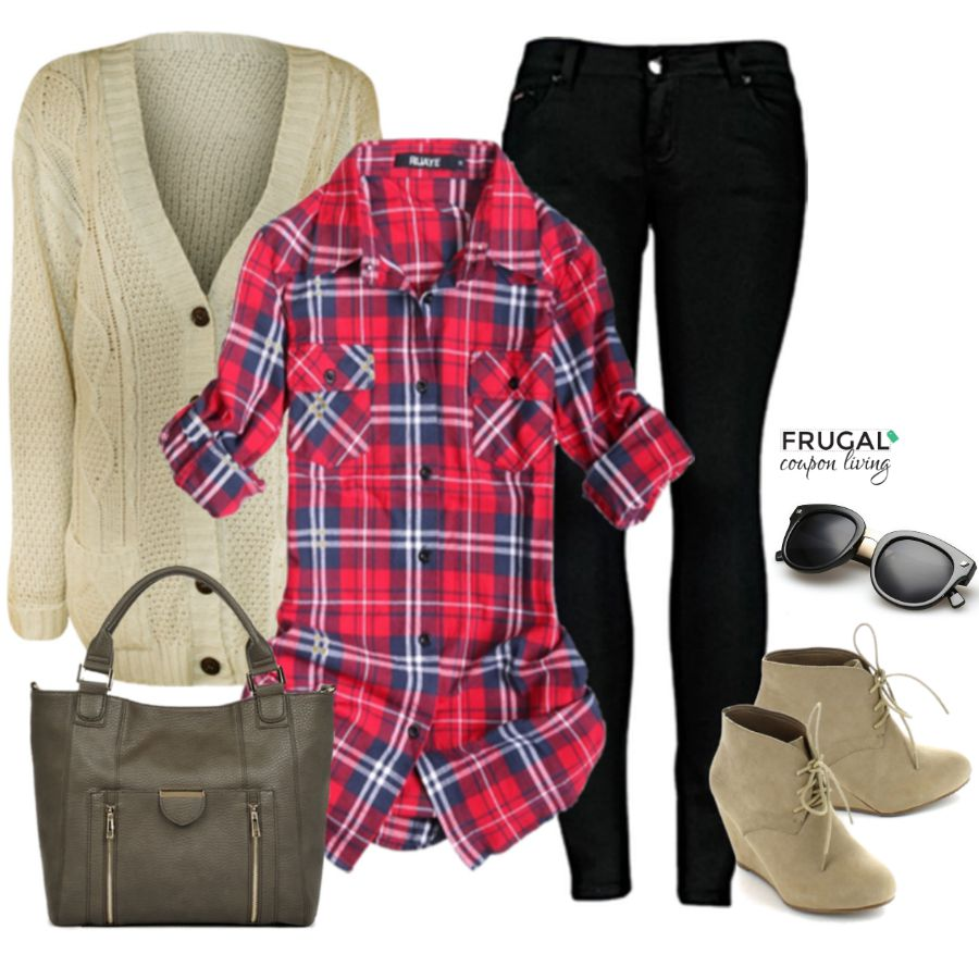 frugal fashion friday ready for fall flannel outfit