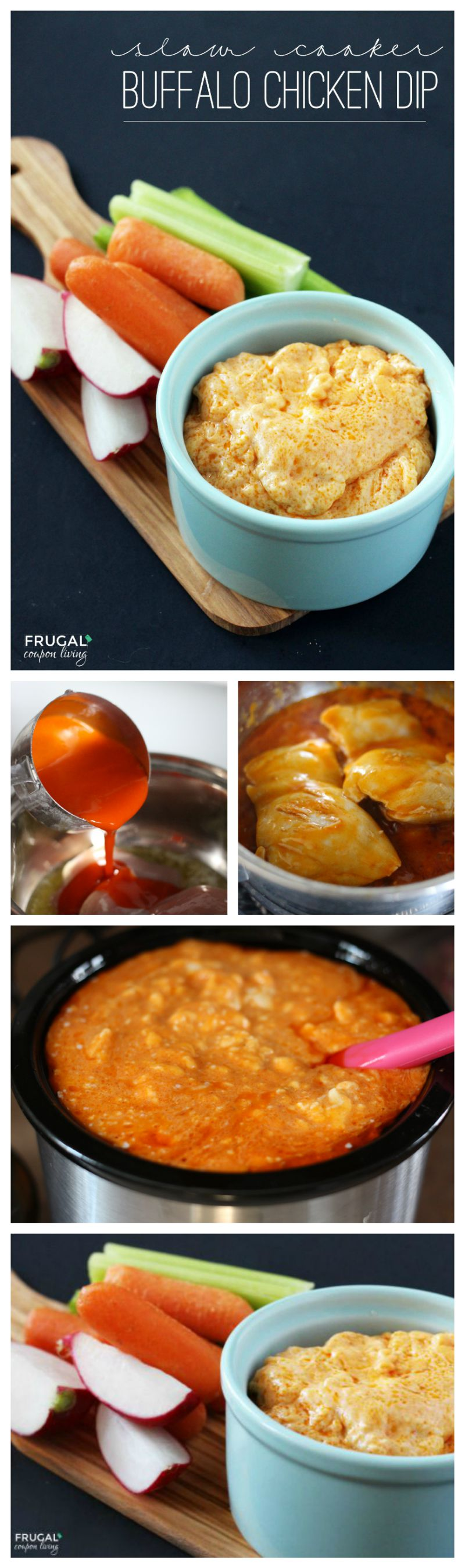 Slow Cooker Buffalo Chicken Dip on Frugal Coupon Living Collage 800