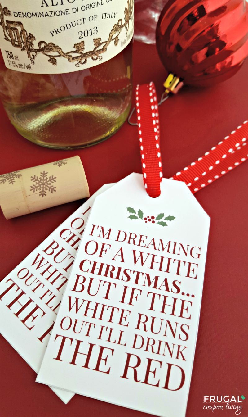 graphic relating to Christmas Tag Free Printable named White Xmas Wine No cost Printable Tag