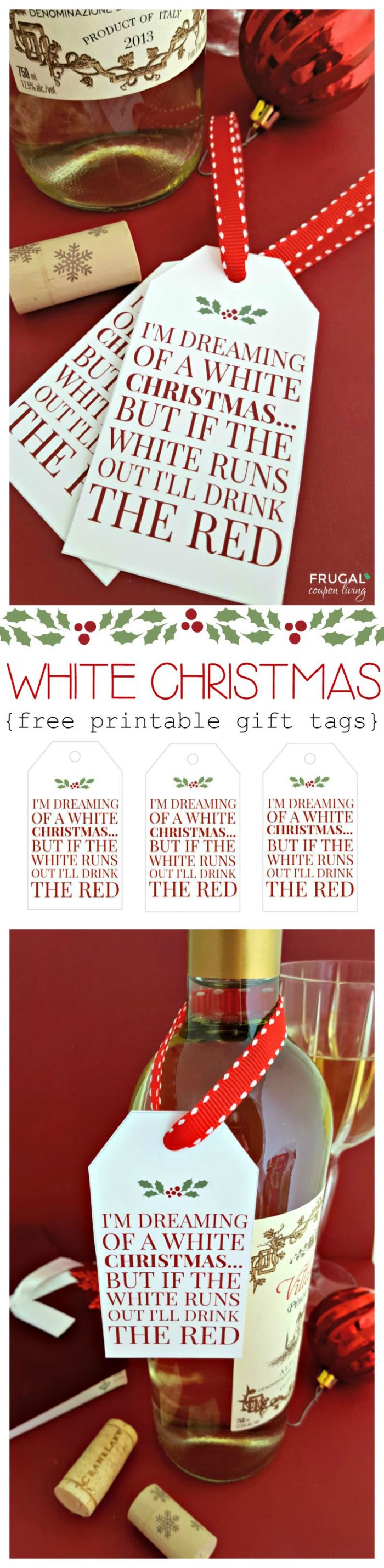 White Christmas Wine Tags on Frugal Coupon Living Collage