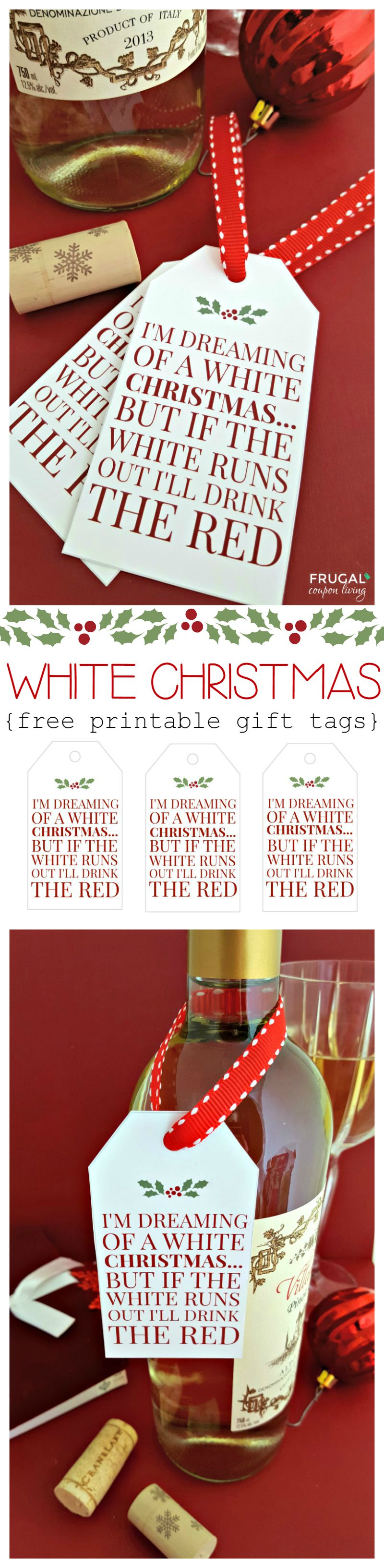white christmas wine printable tag white christmas wine tags on frugal coupon living collage