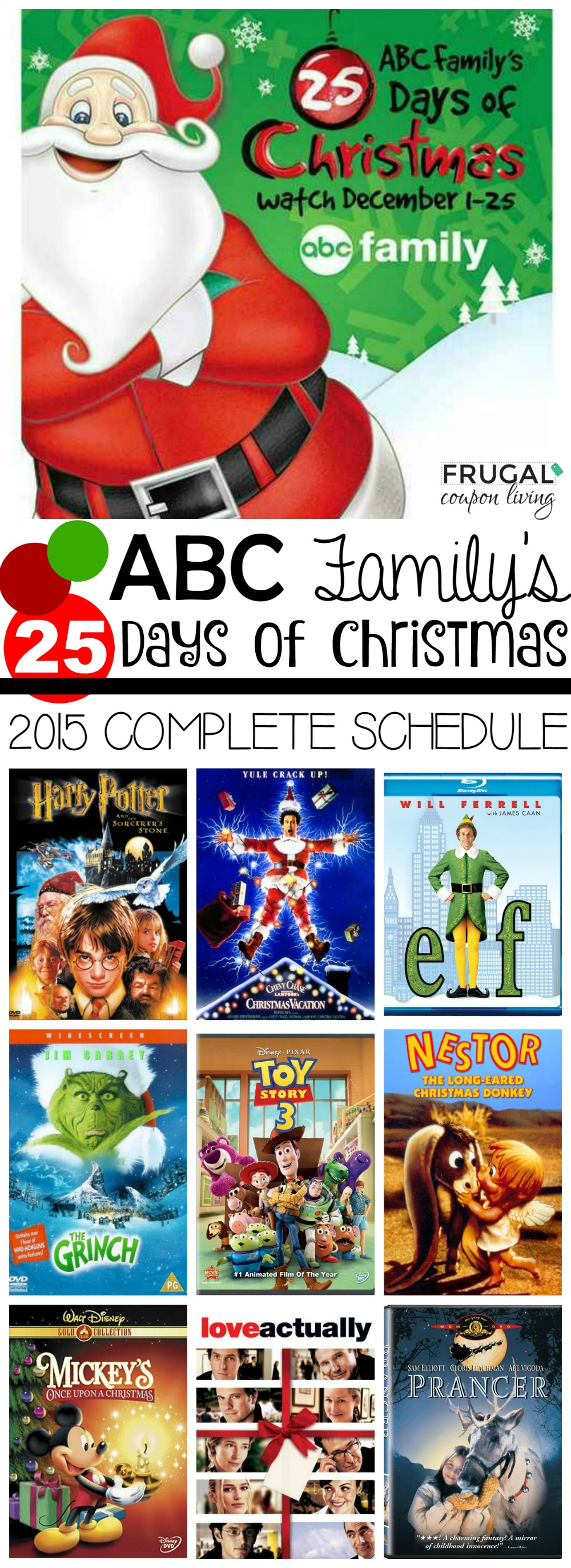 abc family 25 days of christmas schedule 2015 frugal coupon living - Abc 25 Days Of Christmas