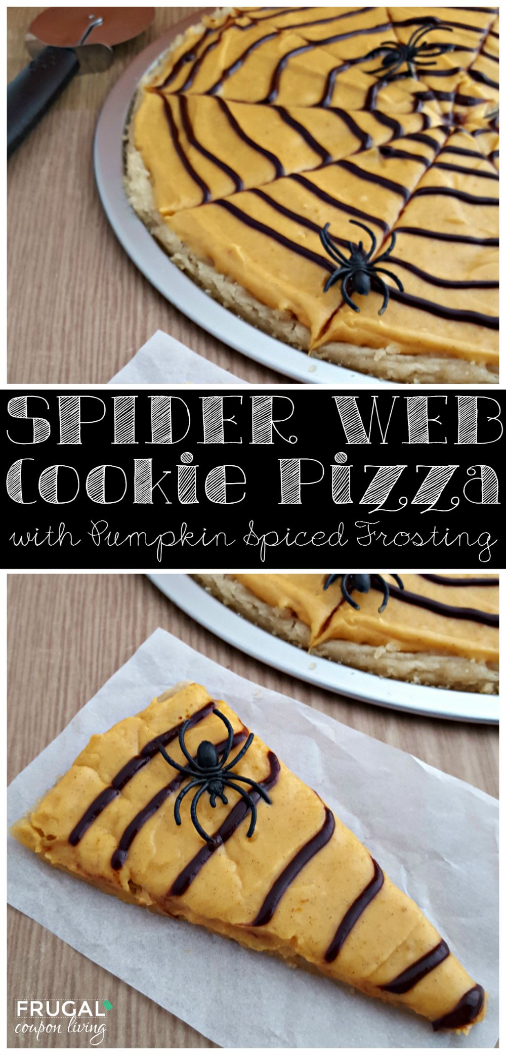 Spider Web Cookie Pizza Recipe Collage on Frugal Coupon Living