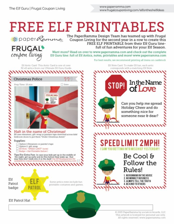 picture about Elf on the Shelf Printable called Cost-free Elf upon the Shelf Costumes and Elf Printable Notes