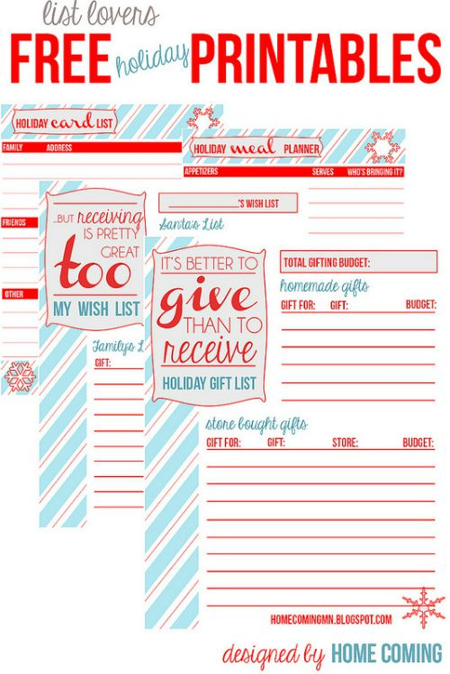 Holiday planning organizer and printable lists from homecoming