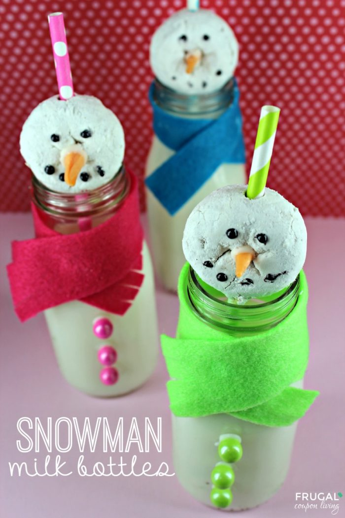 Snowman Milk Bottles on Frugal Coupon Living