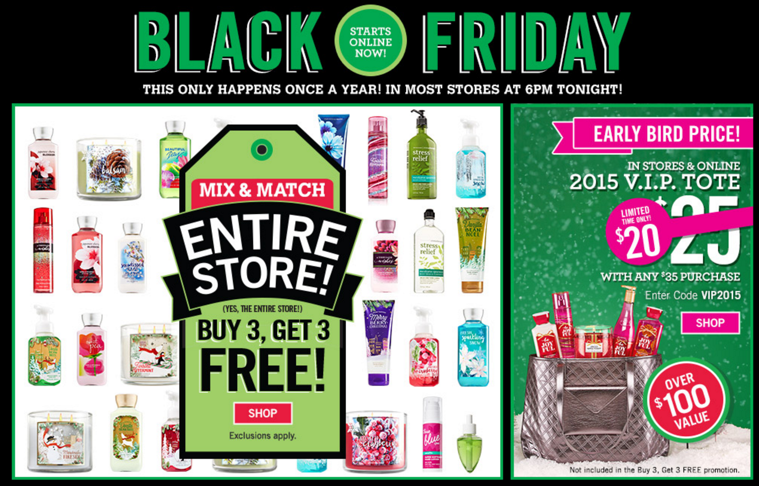 Bath Amp Body Works Vip Black Friday Bag 20 From 100