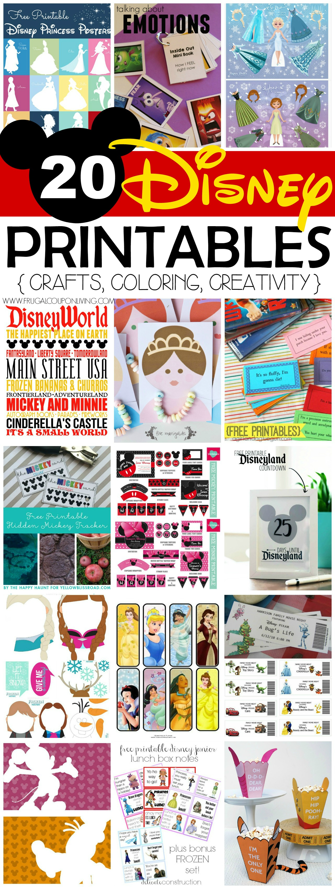 20 FREE Disney Printables - Crafts, Coloring, Creativity