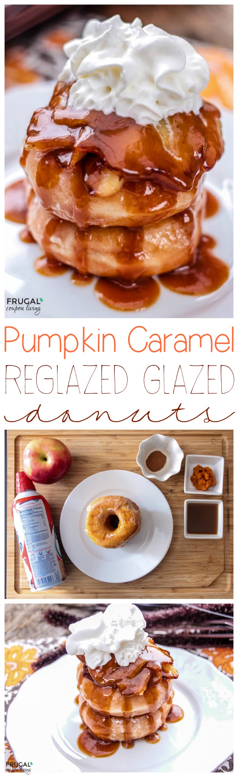 Pumpkin Caramel Reglazed Glazed Donuts Smaller Collage